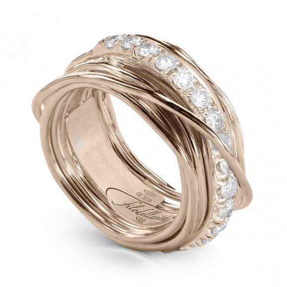 Anello Filo della Vita prezioso 13 fili in oro rosa con diamanti bianchi