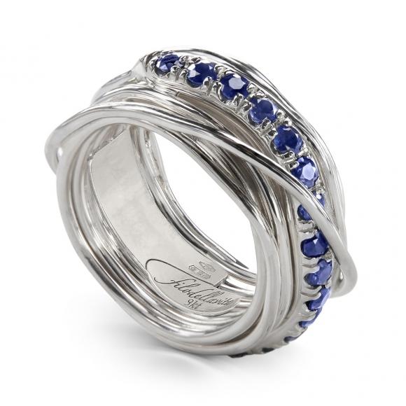 Anello Filo della Vita 13 fili in argento 950 con zaffiri blu