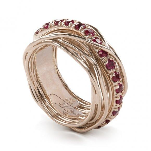 Anello Filo della Vita prezioso 13 fili in oro rosa con rubini