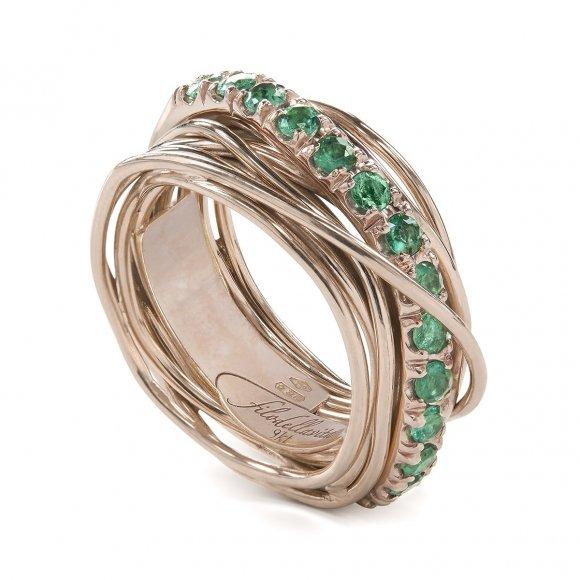 Anello Filo della Vita prezioso 13 fili in oro rosa con smeraldi