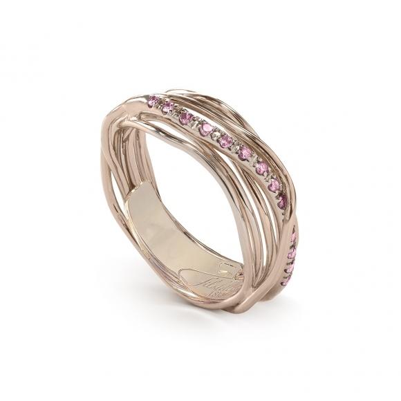 Anello Filo della Vita luce 7 fili in oro con zaffiri rosa