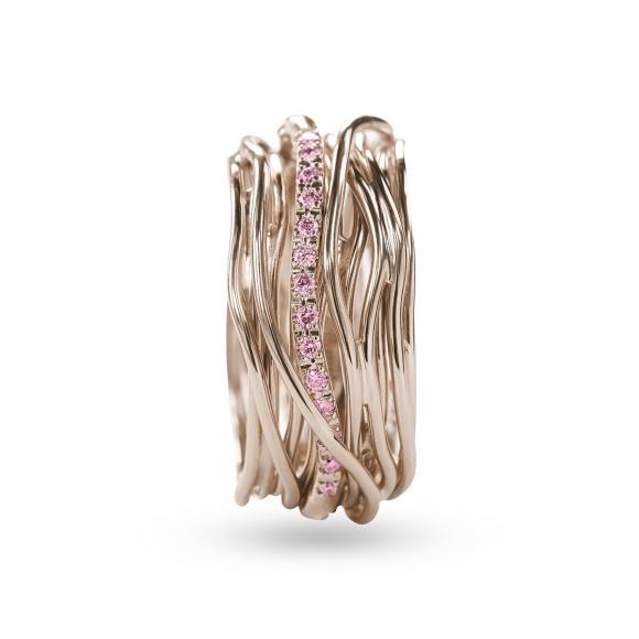 Anello Filo della Vita luce 13 fili in oro rosa con zaffiri rosa