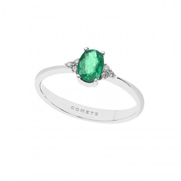 Anello Comete in oro bianco con diamanti bianchi e smeraldo