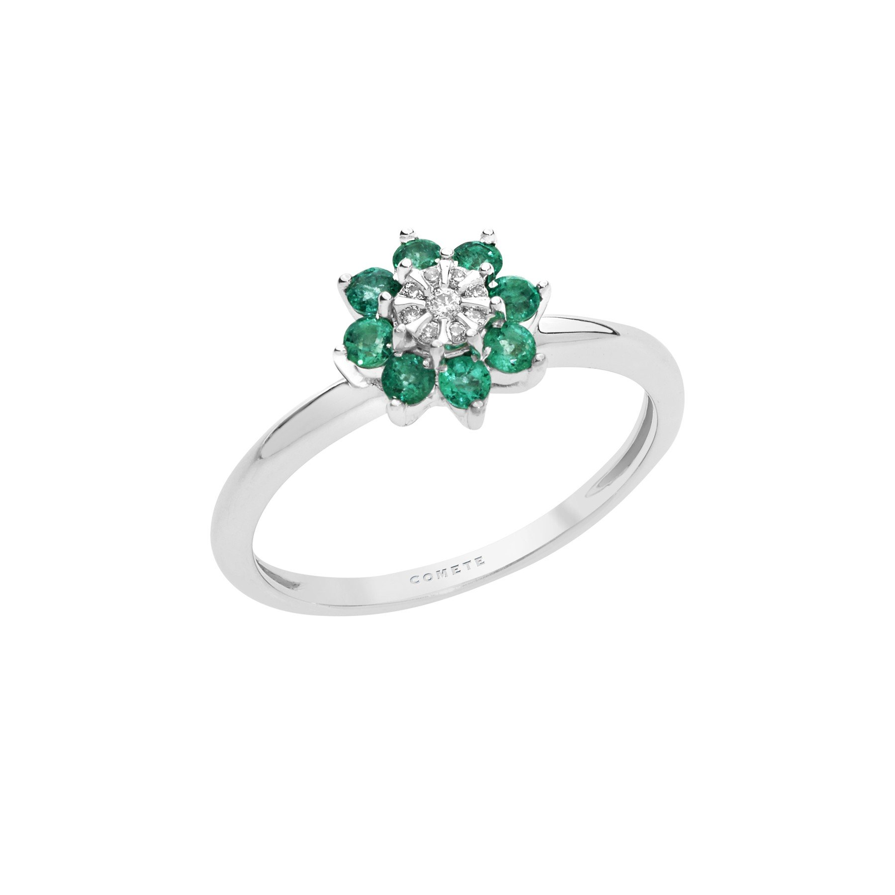 Anello Comete in oro bianco a fiore con diamante bianco e smeraldi