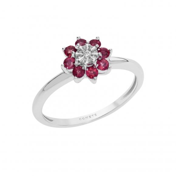 Anello Comete in oro bianco a fiore con diamante bianco e rubini