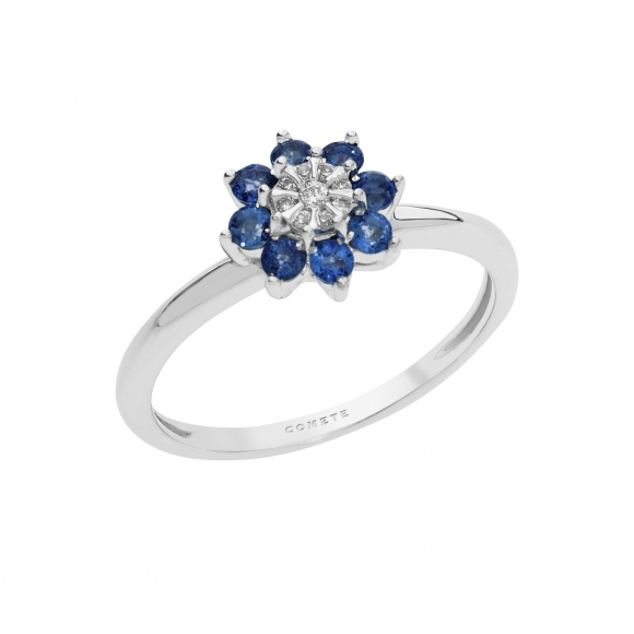 Anello Comete in oro bianco a fiore con diamante bianco e zaffiri