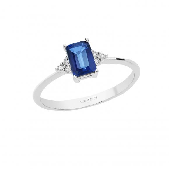 Anello Comete in oro bianco con diamanti bianchi e zaffiro blu
