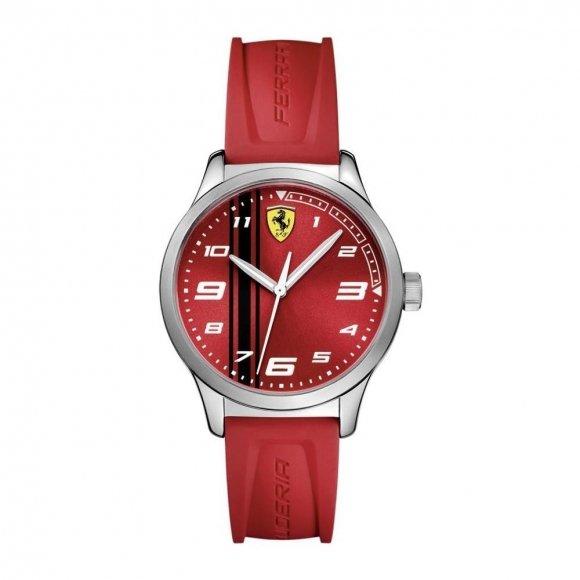 Orologio Ferrari con cinturino rosso in caucciù e cassa rossa