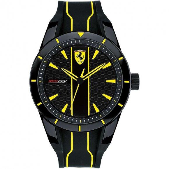 Orologio Ferrari con cinturino in caucciù nero e dettagli gialli