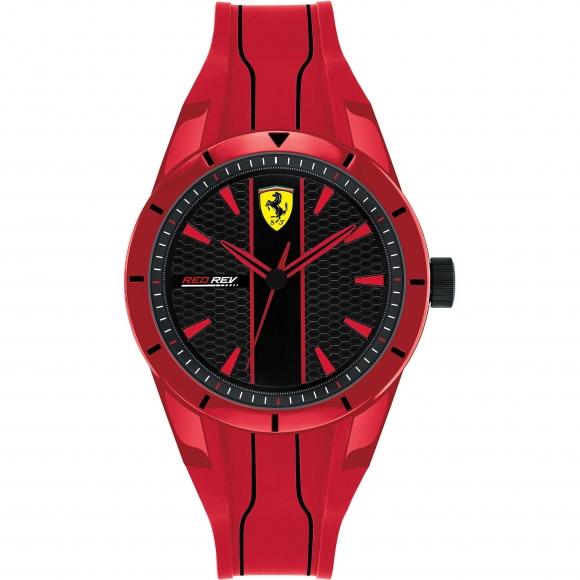Orologio Ferrari con cinturino in caucciù rosso e cassa a nido d'ape