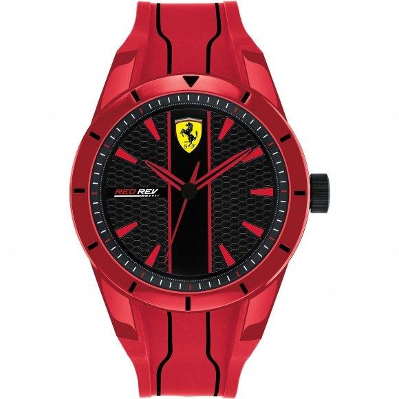 Orologio Ferrari con cinturino rosso in caucciù e dettagli neri