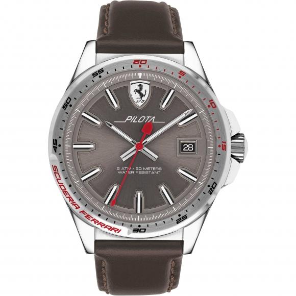 Orologio Ferrari con cinturino in pelle marrone e cassa in acciaio