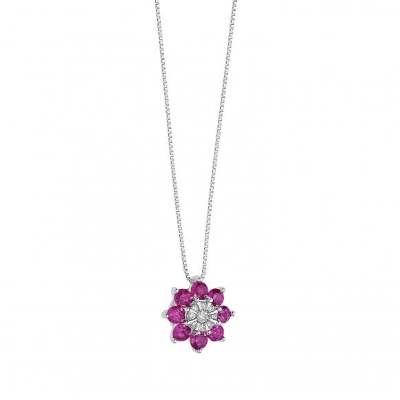 Collana Comete in oro bianco con fiore con diamante e rubini