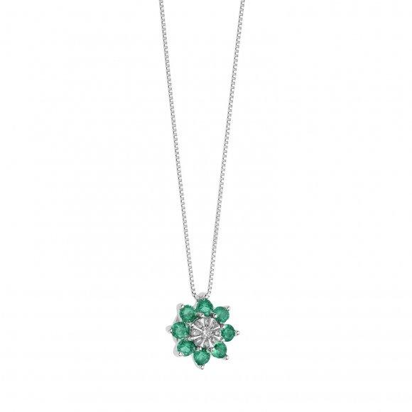 Collana Comete in oro bianco con fiore con diamanti e smeraldi