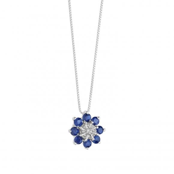 Collana Comete in oro bianco con fiore con diamante e zaffiro