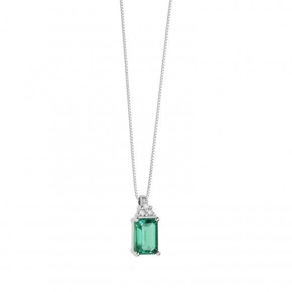 Collana Comete in oro bianco con diamanti e smeraldo