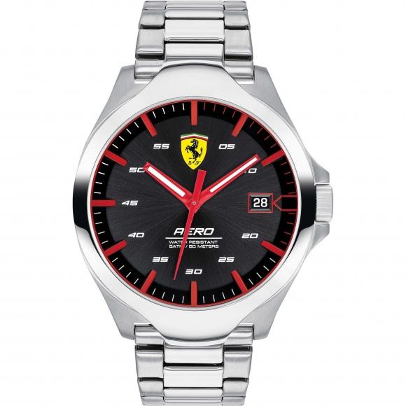 Orologio Ferrari in acciaio con cassa nera e dettagli rossi