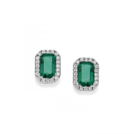 Orecchini Comete in oro bianco con diamanti bianchi e smeraldo