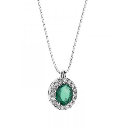 Collana Comete in oro bianco con diamanti bianchi e smeraldo
