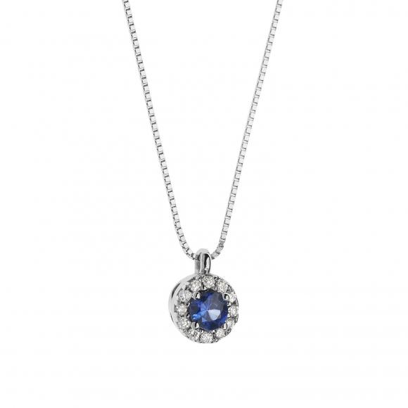 Collana Comete in oro bianco con diamanti con zaffiro blu
