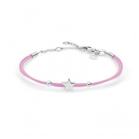 Bracciale Comete con cordino marino rosa e stella in argento 925