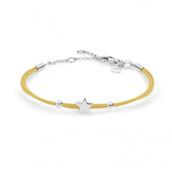 Bracciale Comete con cordino marino giallo e stella in argento 925