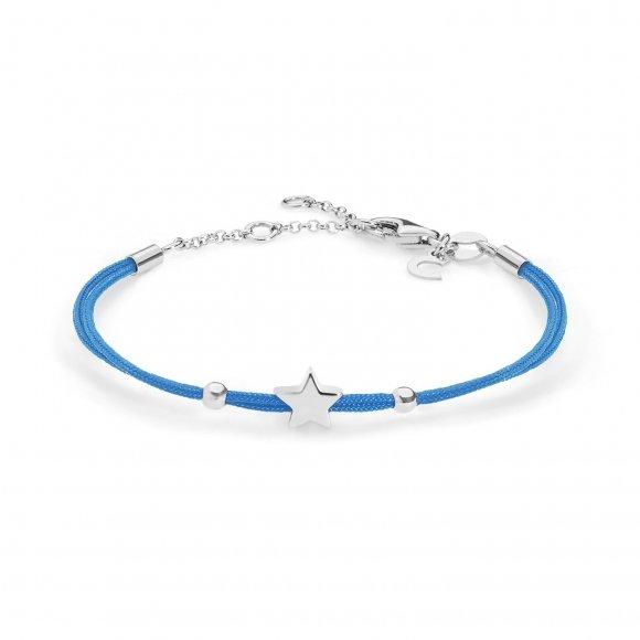 Bracciale Comete con cordino marino azzurro e stella argento 925