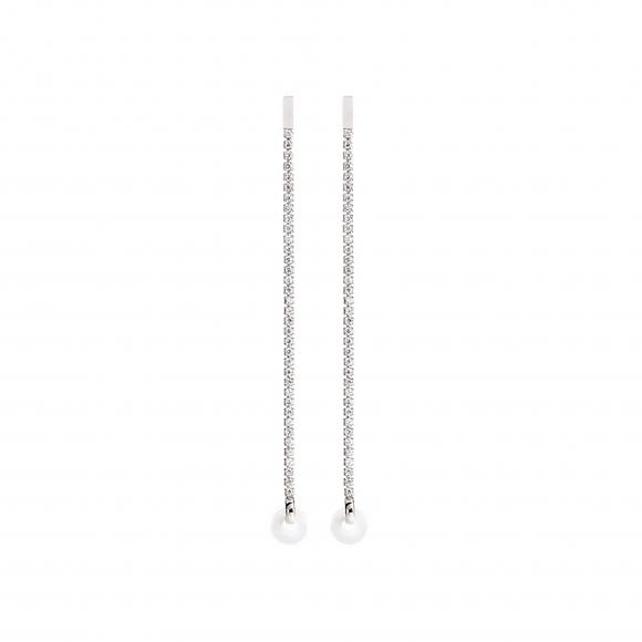 Orecchini Eclat in argento pendenti modello tennis con zirconi bianchi
