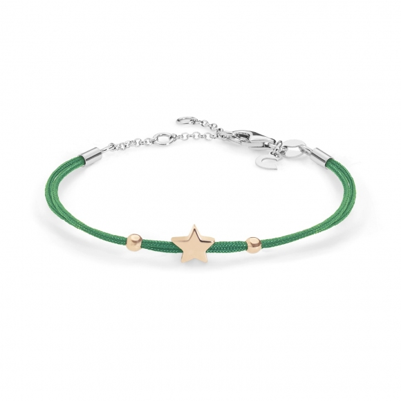 Bracciale Comete con cordino marino verde e stella in argento  925