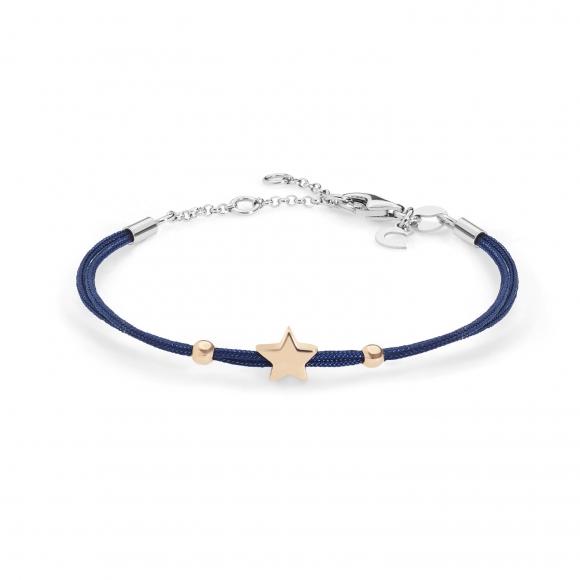Bracciale Comete con cordino marino blu e stella in argento 925