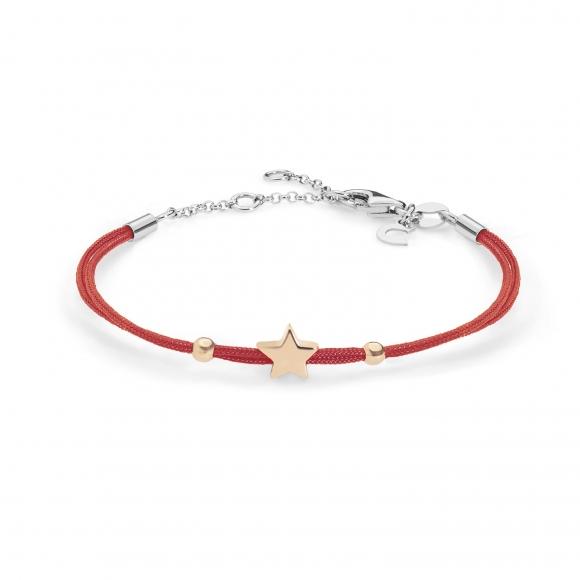 Bracciale Comete con cordino rosso e stella in argento 925