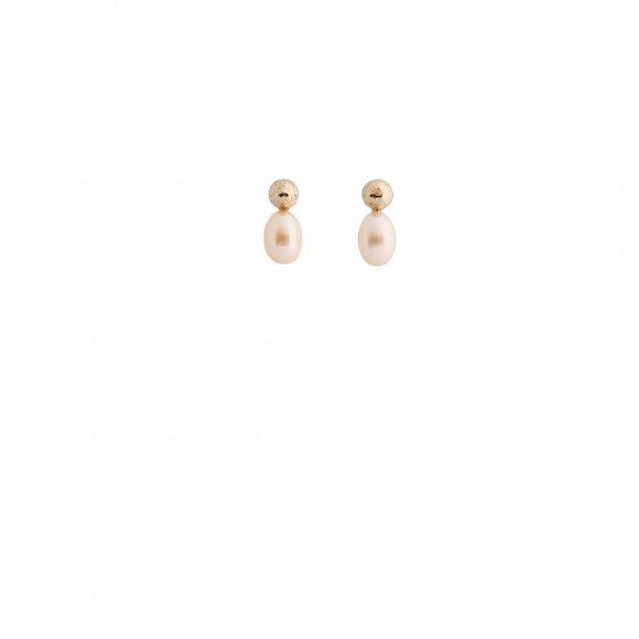 Orecchini Eclat in argento con sfera martellata e perla ovale rosa