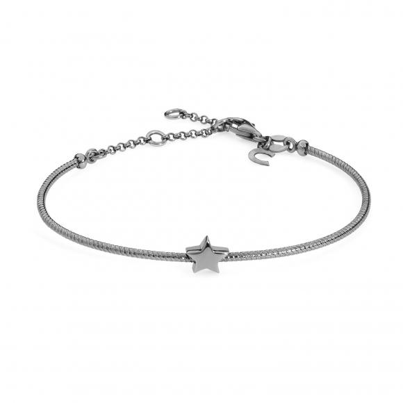 Bracciale Comete rigido in argento brunito 925 con  stella