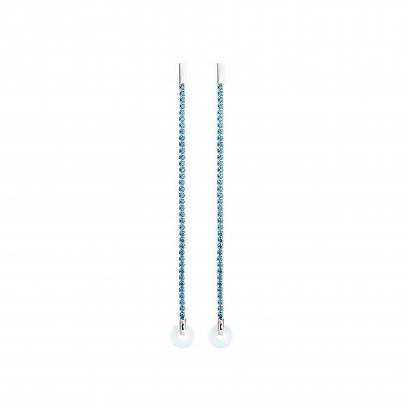 Orecchini Eclat  in argento pendenti con zirconi azzurri e cerchio