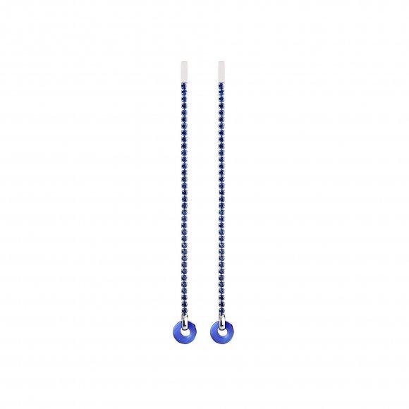 Orecchini Eclat in argento brunito con zirconi blu e cerchio