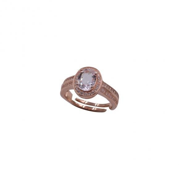 Anello Fogi regolabile in argento rosato con zirconi