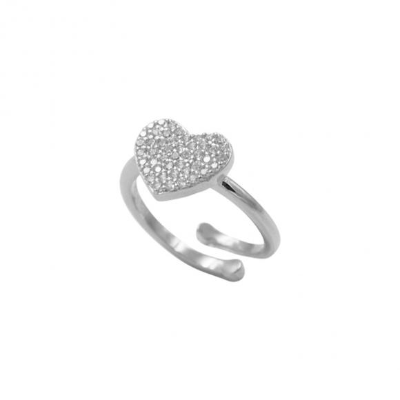 Anello Fogi regolabile in argento con cuore centrale pavè con zirconi