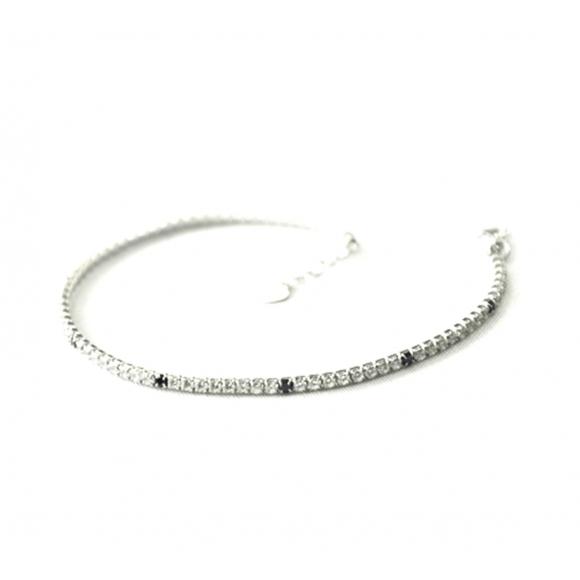 Bracciale Fogi in argento modello tennis con zirconi bianchi e neri