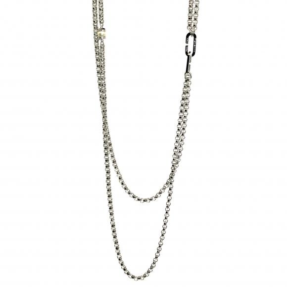 Collana Rebecca lunga argentata a doppia catena con perla