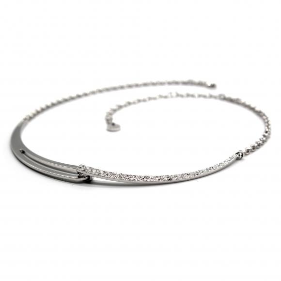 Collana Rebecca a girocollo argentato con dettaglio rigido diamantato
