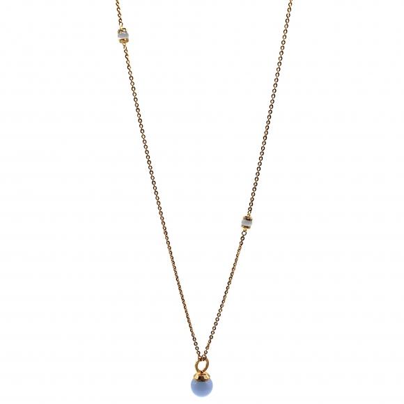 Collana Rebecca lunga dorata con pietre a sfera azzurre