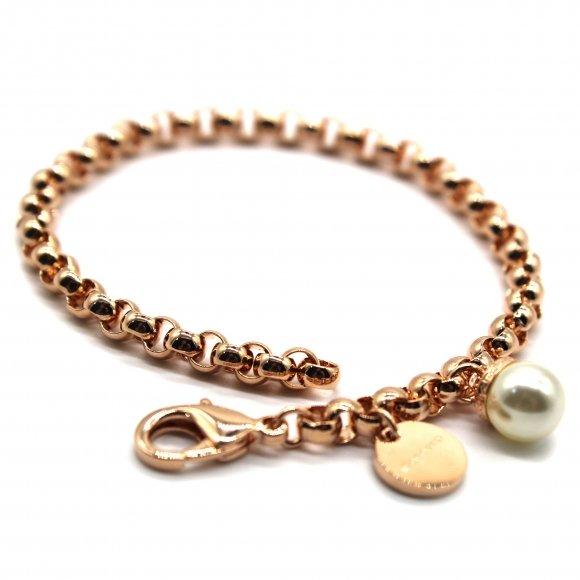 Bracciale Rebecca rosato a catena con perla bianca pendente