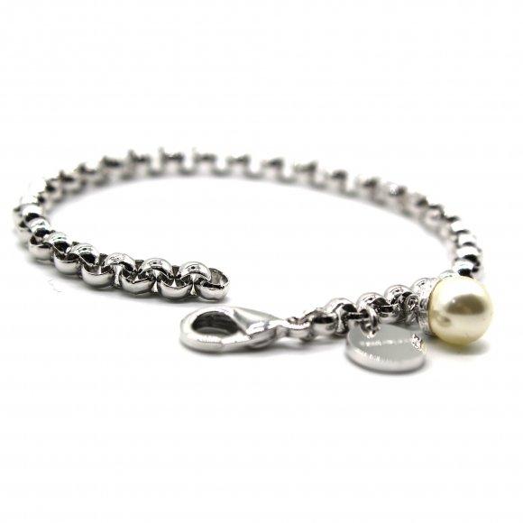 Bracciale Rebecca a catena argentata con perla bianca pendente