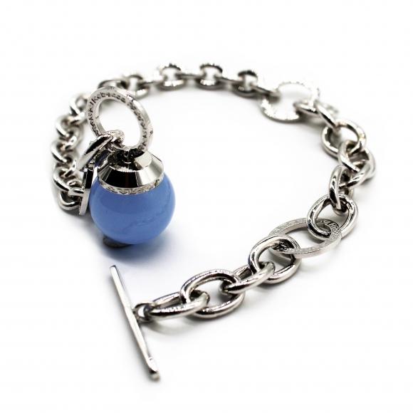 Bracciale Rebecca argentato a catena con pietra azzurra a sfera