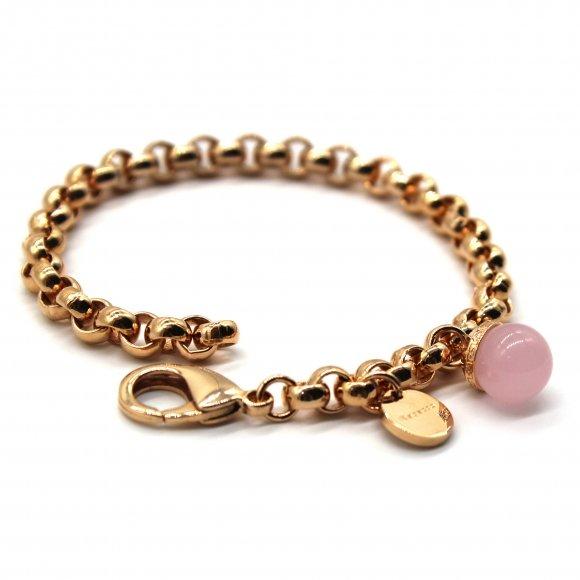 Bracciale Rebecca a catena rosata con pietra rosa a sfera