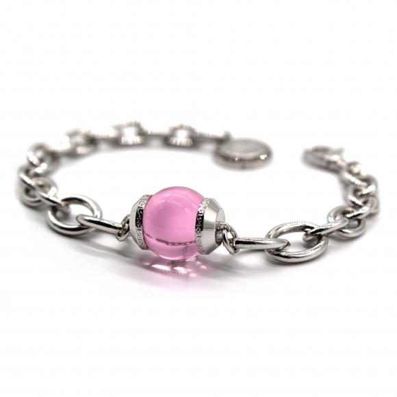 Bracciale Rebecca a catena argentato con pietra rosa a sfera