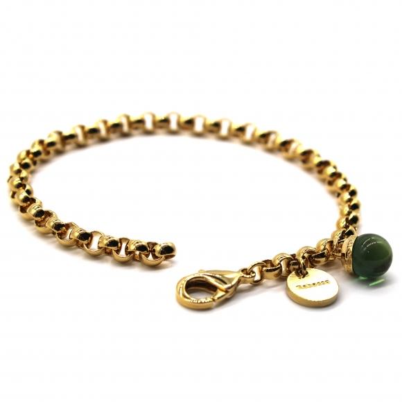 Bracciale Rebecca dorato a catena con pietra a sfera verde