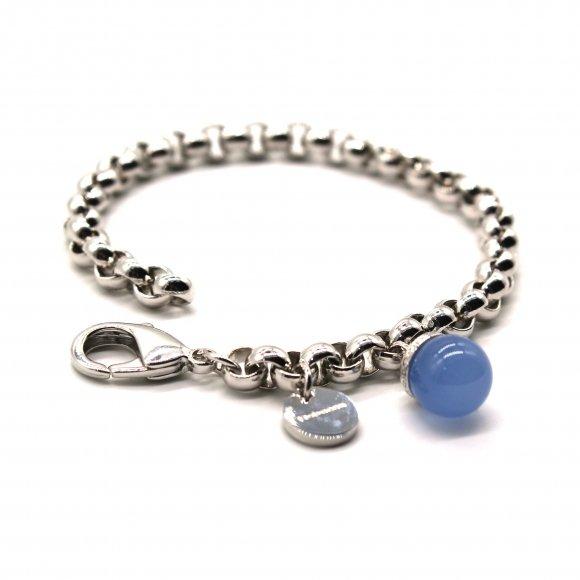 Bracciale Rebecca a catena argentato con pietra azzurra a sfera