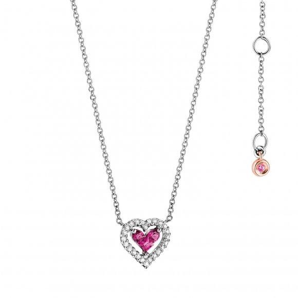 Collana Comete in oro bianco con ciondolo a cuore con diamanti e rubini