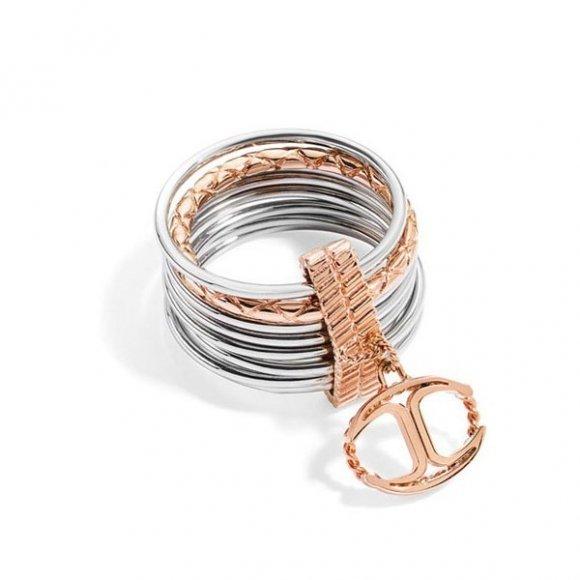 Anello Just Cavalli a più fili con ciondolo logo rosato